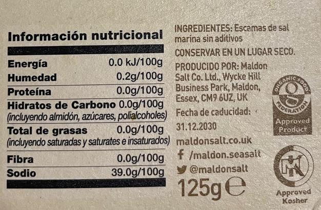Ingredientes nutricionales de la sal marina de Maldon