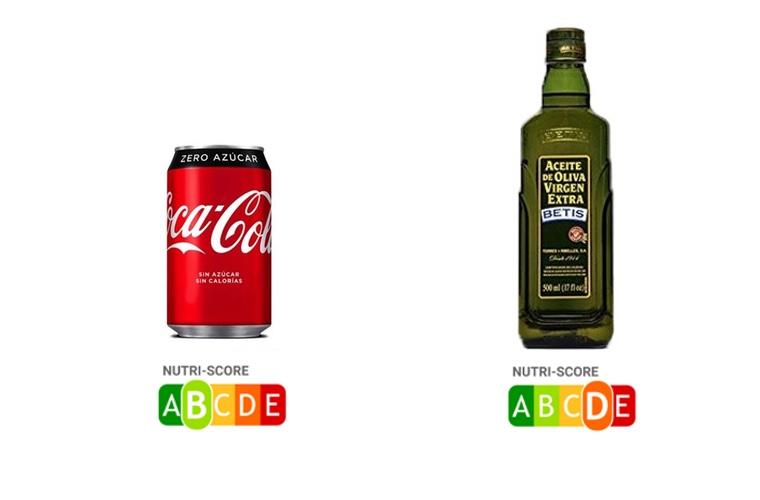 Comparativa NutriScore entre CocaCola Zero y el aceite de Oliva