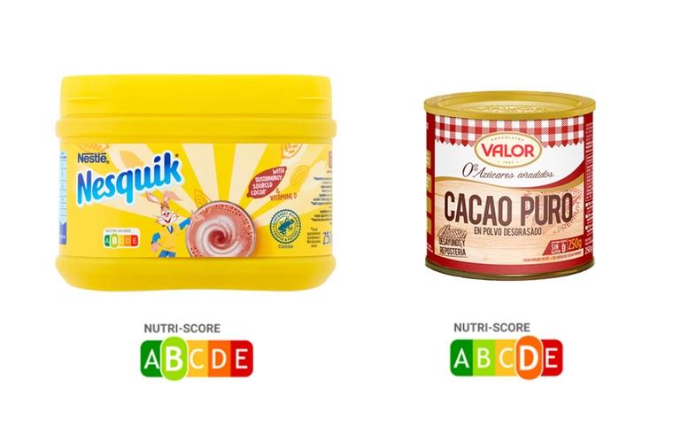 nutriscore cacao puro comparado nesquik