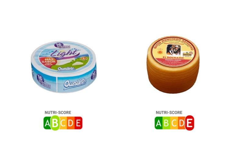 Comparativa NutriScore entre queso light y curado