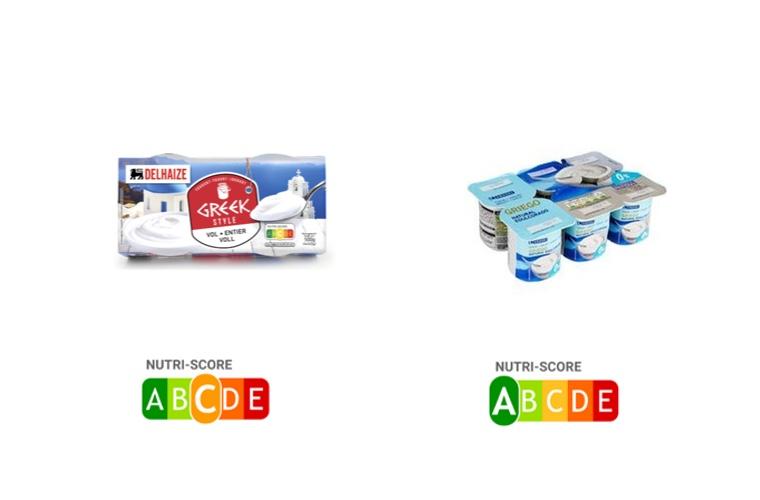 comparativa yogur natural griego con yogur natural desnatado edulcorado griego en nutriscore