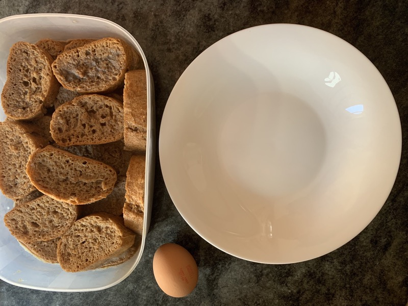 Ingredientes para preparar torrijas saludables