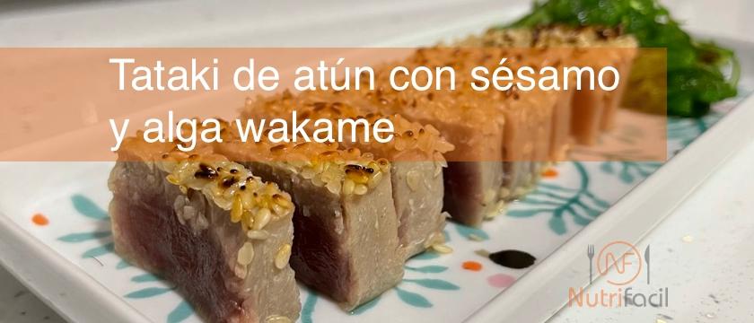 Post de tataki de atún con sésamo y alga wakame