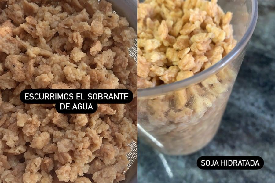 Hidratación de la soja texturizada